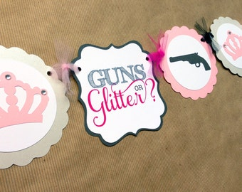 GUNS OR GLITTER - Gender reveal baby shower Banner
