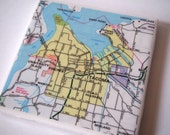 1983 Tacoma Washington Handmade Repurposed Vintage Map Coaster - Ceramic Tile Coaster - Repurposed 1980s City Map Atlas  OOAK Drink Coasters