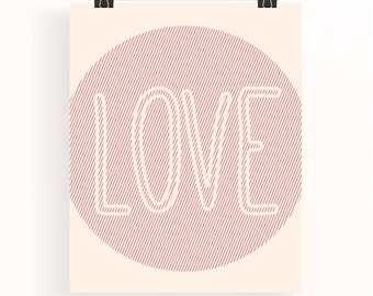 Peach nursery print - Love nursery art - baby girl nursery typography print - kids wall art - nursery typography poster