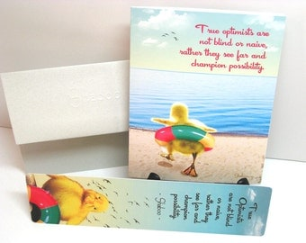 Gift Set, Funny Duckling Inspirational Card & Bookmark: True Optimists