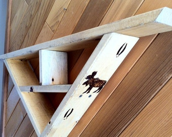 Rustic geometric shelf with bear and moose burned into the side, country home decor, lodge decor,  and cabin decor