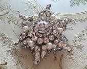 Windmill flower wedding bridal rhinestone crystals and pearls brooch pin