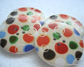 40mm Wood Button Beige with Spot Print Pack of 5 Very Big Buttons W4005