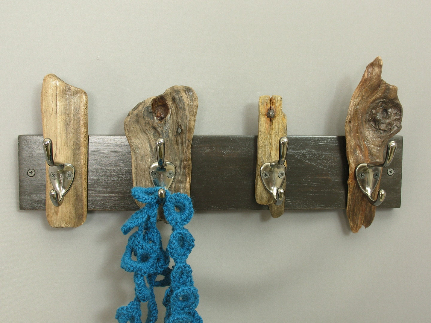 Contemporary rustic coat rack with driftwood and by for Contemporary coat hooks