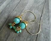 Elegant Teal and Gold Earrings.  Acorn Earrings.  Gift for Her.
