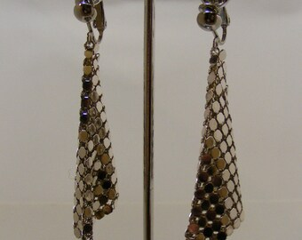 Vintage Silver Mesh Clip Statement Earrings