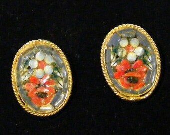 Vintage Handmade Flower Clip Earrings