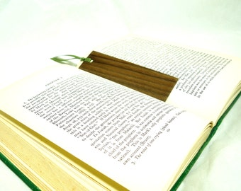 Handcrafted reclaimed wood bookmark with ribbon pack of 4 bookworm gift ideas book lover gift