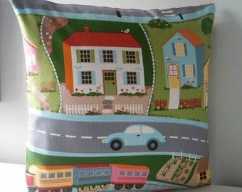 Train House Veg Patch kids road map Pillow cover