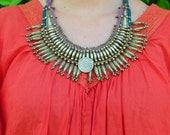 40's 50's Antique Nepal Ethnic tribal Gypsy Goddess ceremonial Tharu belly dance light silver/gold tone coin statement choker bib necklace