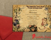 Vintage Sketch Classic Alice In Wonderland Invitation  ( Invitation is part of our Collection Part 1)(Design Fee)