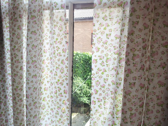 Window curtains drapes shabby curtains 54 inch by ClarasHandMade