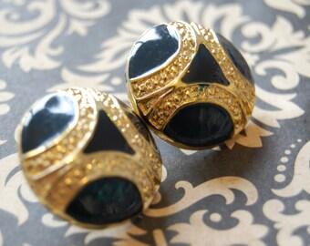 Vintage HAUTE Couture Goldtone + Navy Enamel Designed Earrings
