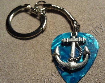 Anchor on Turquoise/Aqua Pearl Guitar Pick w/ Snake Chain Keyring/Keychain