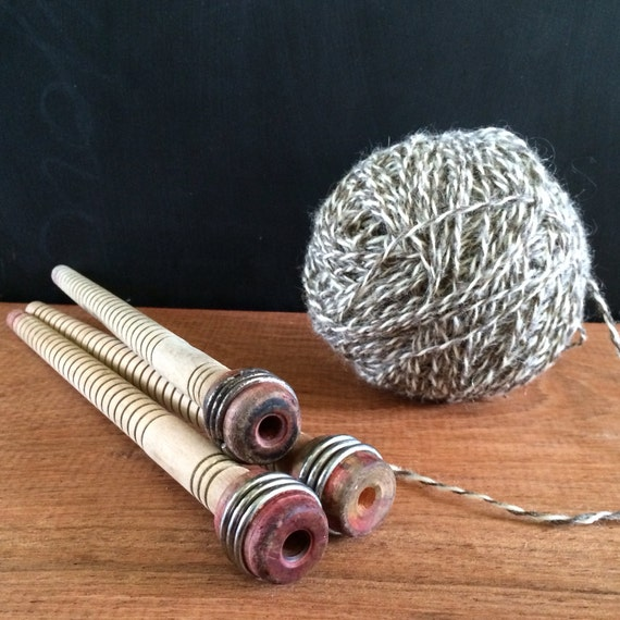 Set of three vintage wood bobbins, wood spools, vintage sewing