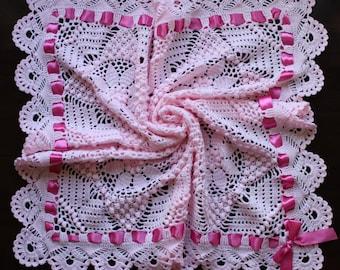 20% OFF - Pink baby blanket, hand crochet heirloom baby shawl