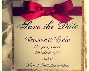 Red and Gold Save the Date, Gold Wedding Save the Date Invitation