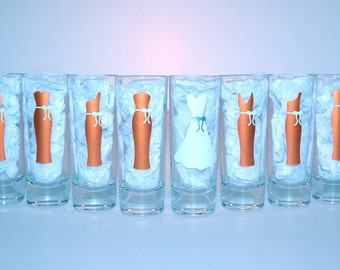 8 Personalized Shot Glasses - Wedding Party Glasses - Bachelorette Bridal Party Shot Glasses - Choose Your Style