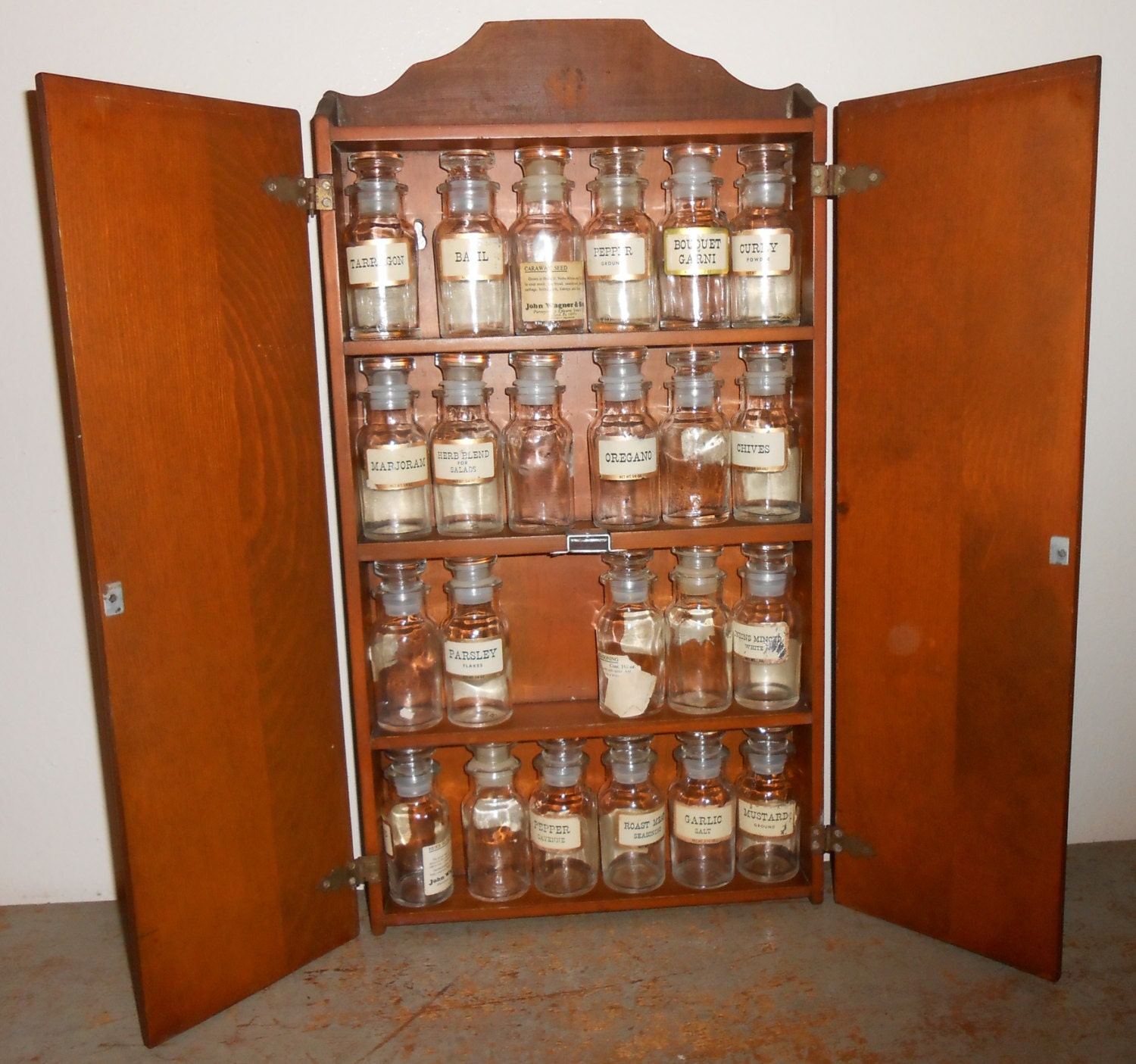 vintage spice rack john wagner and sons cabinet wood spice. Black Bedroom Furniture Sets. Home Design Ideas