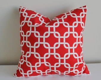 18 inch geometric patterned pillow cover/case in red squares, with zipper