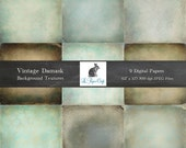 """Grungy Vintage Damask Background Textures - Photography Backgrounds - Scrapbook Paper - (12 """"x 12"""" 300dpi) Instant Download - 9 JPG Files"""