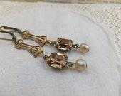Edwardian Dangle Vintage Swarovski Smoky Topaz Crystal Drop Earrings, Old World, Delicate Vintage Glass Pearls, Antiqued Brass, Romantique