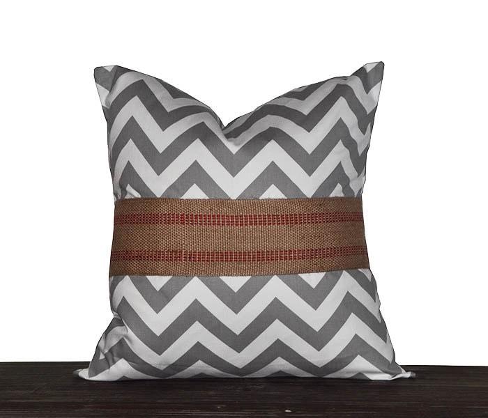 Grey Chevron Throw Pillow : 18 Inch Grey Chevron Throw Pillow Cover 18x18 Zig Zag