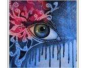 Eye, swirk and dots, watercolor, aquarell, painting, OOAK