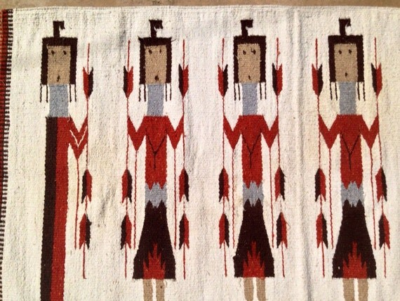 Vintage Native American Woven Navajo Style Rug By