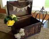 Rustic Wedding Card Box With Burlap Banner, Personalized, Ex Large Card Box.