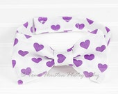 Boy's, Girl's Bow Tie, Newborn, Baby, Child- Purple Hearts, White (2-3 Business Day Processing