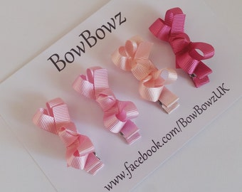 Mini Baby Boutique Hair Bow Clip girls hair accessories. x 4 Pretty in Pink, Fuchsia, Peachy Pink, Wild Rose and Rose Pink
