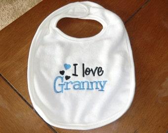Embroidered Baby Bib - I Love Granny - Boy