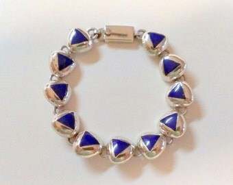 Sterling Silver Lapis Bracelet Taxco Mexico
