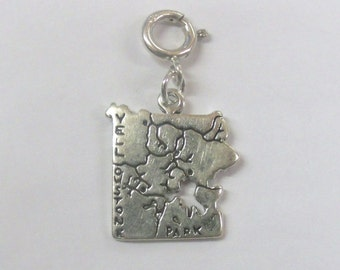 Sterling Silver Yellowstone National Park Charm-Fits European & Traditional Charm Bracelets-2018