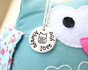 """Hand Stamped """"Owl Always Love You"""" necklace pendant keepsake aluminium UK"""
