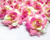 24 Ivory Pink mini Roses Heads - Artificial Silk Flower - 1.75 inches - Wholesale Lot - for Wedding Work, Make Hair clips, headbands