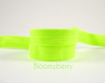 """5 or 10 Yards 5/8"""" Fold Over Elastic - NEON Green Color - Neon Elastic - Green Fold Over Elastic - DIY Hair Accessories Supplies"""