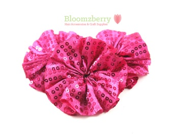 "2.5"" Sequin Ballerina Flowers - Hot Pink/Fuchsia Color - Unfinished - Sequin Flowers - Birthday/Valentines - Hair Accessories Supplies"