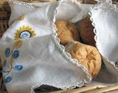 Vintage White Runner, Natural Linen  Handmade  Table Runner , Germany , Linen Napkin,  Hand Embroidered
