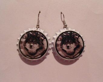 Wolf bottle cap earrings