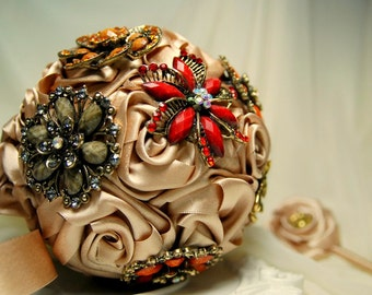 Satin wedding bouquet and boutonniere