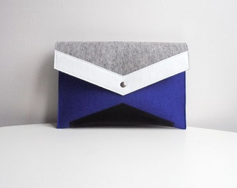 Navy Blue Gray White Black Felt Leather Clutch Bag