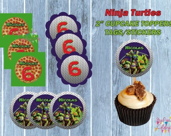 Cupcake toppers- Party favor Tags - Ninja Turtles Force SMALL TAGS - Skylanders birthday party favors