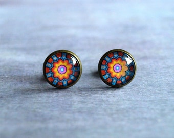 Small colorful mandala earrings post Orange blue purple yellow cute studs glass dome earrings Cabochon picture ear stud christmas gift