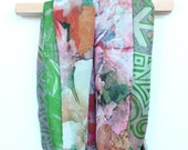 Green Vintage Sari and Lightweight Bright Floral Infinity Scarf // Two Sizes Available