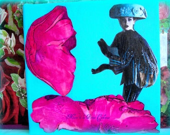 L ' attaque des Champignons tableau collage original 20 x 20 cm.