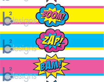 Superhero Waterbottle Labels • Pow! Boom! Zap! Pop! Bam! • GV2 Color • INSTANT DOWNLOAD