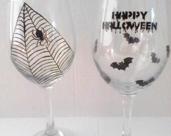 Haunted Halloween Hand Painted Wine Glasses