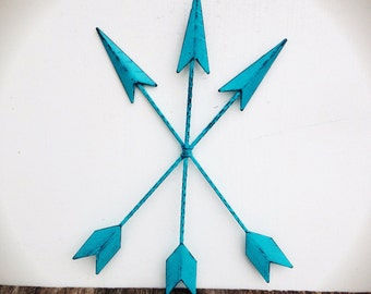 BOLD seaside aqua blue metal arrow wall art //  tribal bohemian shabby cottage chic // rustic Native American // nautical beach weathered